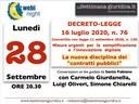 28/09/2020 - WEBINAR (gratuito): la nuova disciplina degli appalti pubblici dopo la conversione del DL76/2020